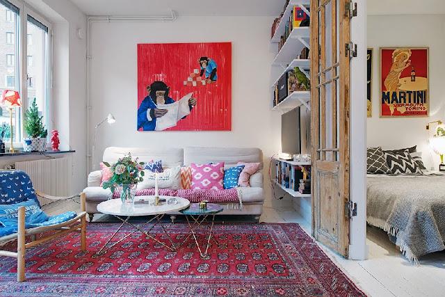Accente vintage și detalii colorate într-un apartament de 40 m²