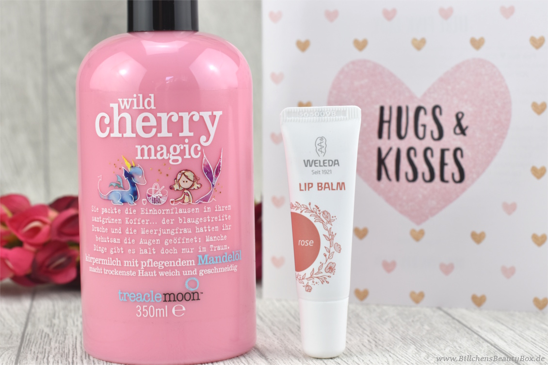 Pink Box Februar 2018 - Hugs & Kisses - treaclemoon wild cherry und Weleda Lip Balm