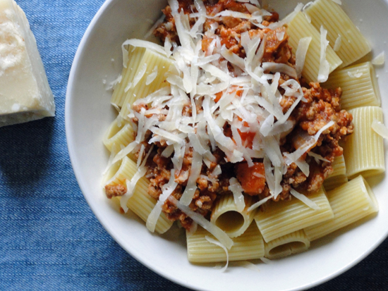Rigatoni with spicy pork