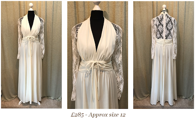 Marilyn Monroe style vintage long lace sleeves wedding dress available from vintage lane bridal boutique wedding dress shop in bolton manchester