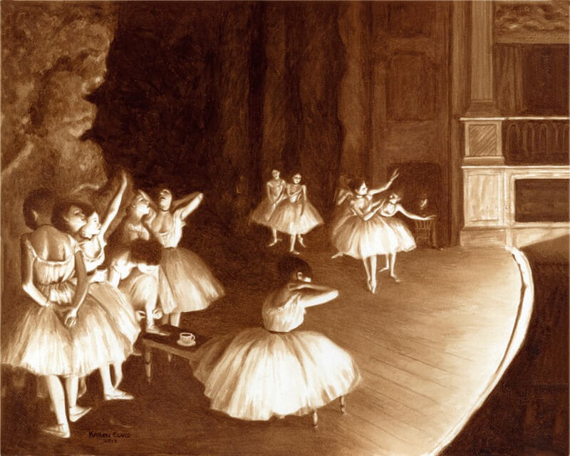 12-Ballet-Rehearsal-Karen-Eland-The-World-Through-Coffee-Paintings-www-designstack-co