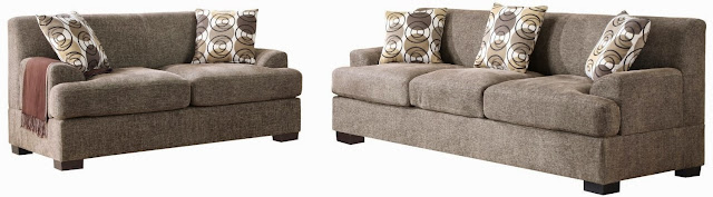 Poundex Montereal 2-Piece Sofa and Loveseat Collection Set with Faux Linen