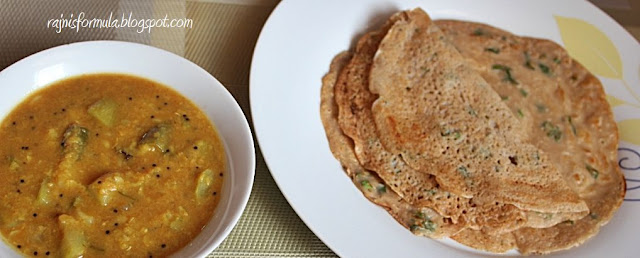 Wheat/Godambu dosa with Sambar