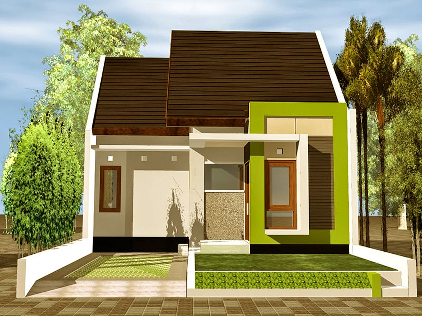 Model Rumah Minimalis Type 64 Wallpaper Dinding
