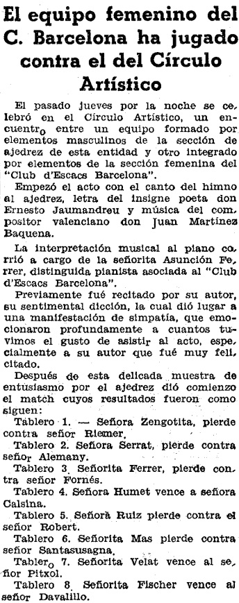 Recorte de El Mundo Deportivo, 25/2/1934