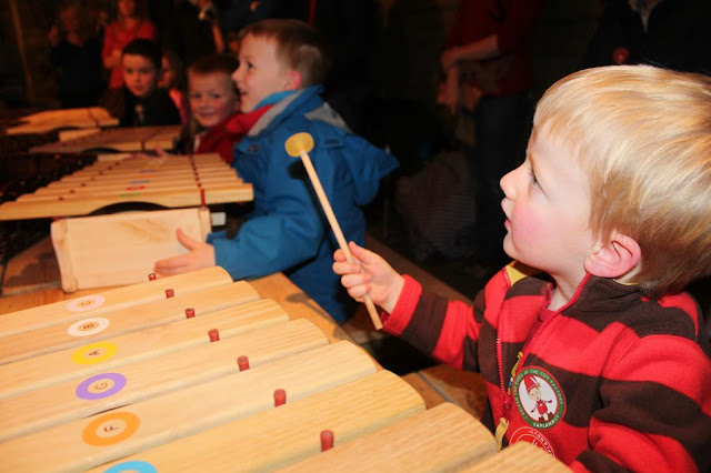 playing xylophone at Lapland UK