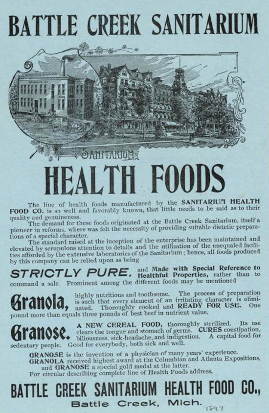 Battle Creek Sanitarium, Health Foods advertising 1897
