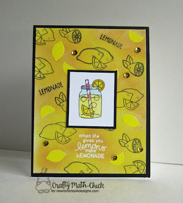 Emboss Resist Lemonade Card by Crafty Math Chick | Freshly Squeezed stamp set by Newton's Nook Designs