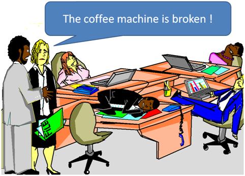 Todos trabalham mais devagar quando a máquina de café não está funcionando