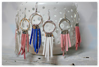 boucles d'oreilles dream catcher en suédine