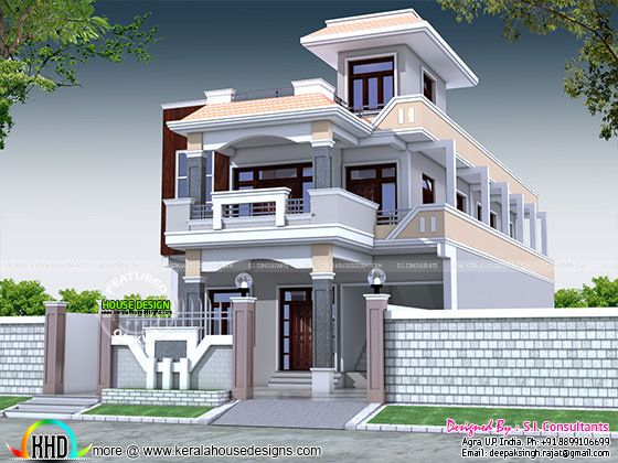 6 bedroom 3400 sq ft decorative home plan kerala home for 3400 square feet house plan