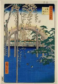 Utagawa Hiroshige - Wisteria at Kameido Tenjin Shrine, 1856. Influencia en jardin de Monet