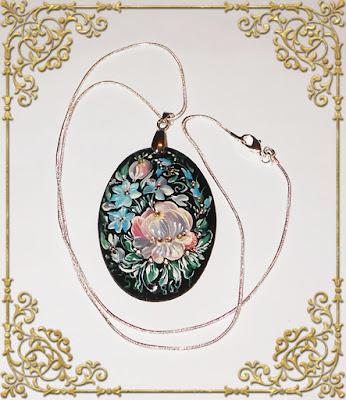 Russian folk art jewelry paintings necklace pendant handmade folk art necklace traditional jewelry