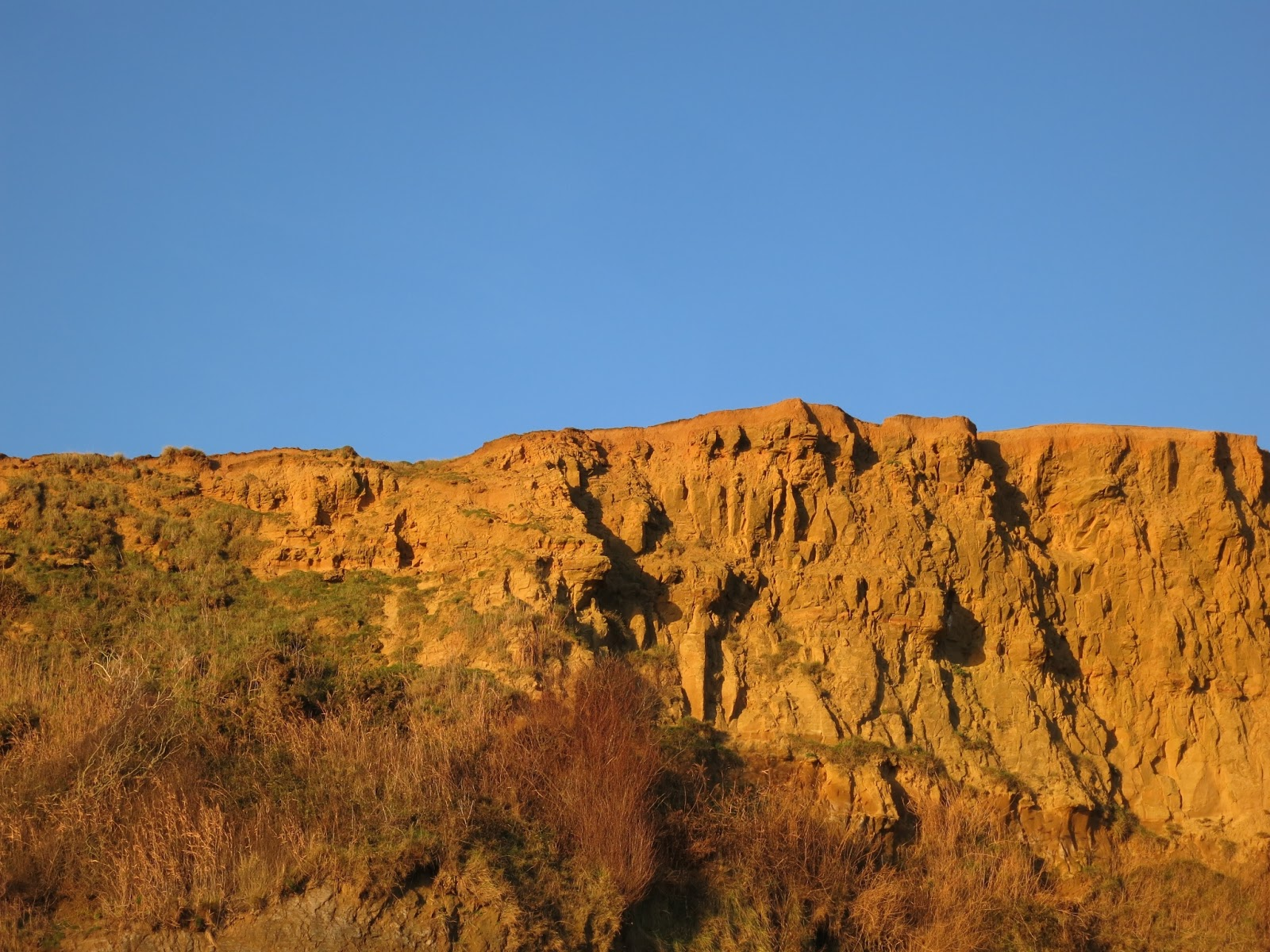 Golden cliffs at Eype on a blue sky November day.