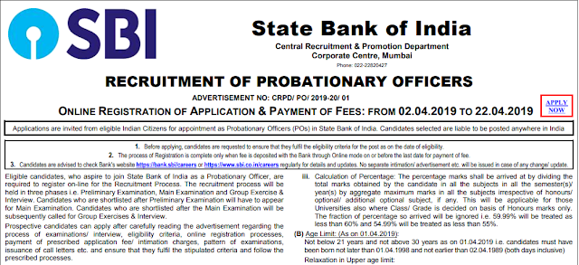 Latest SBI Recruitment-2019 For P.O Posts 2000 Vacancy Open