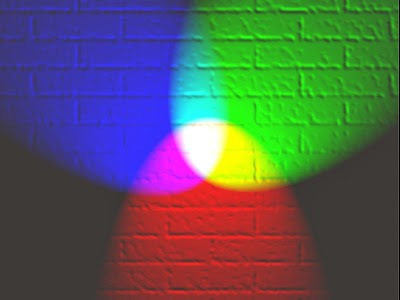 Red, green and blue lights showing secondary colours.