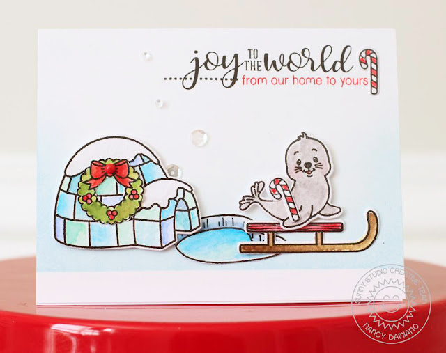 Sunny Studio Stamps: Polar Playmates Winter Themed Christmas Card by Nancy Damiano