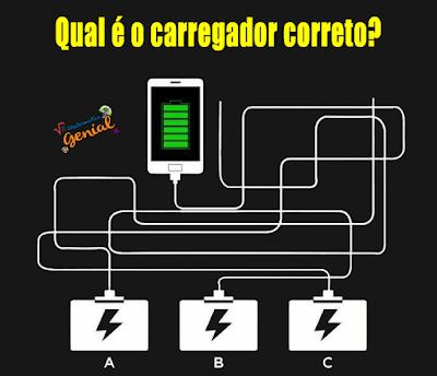 Qual é o carregador correto? Teste de visão