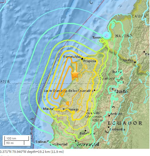 M7.8 Earthquake at 27km SSE of Muisne, Ecuador.