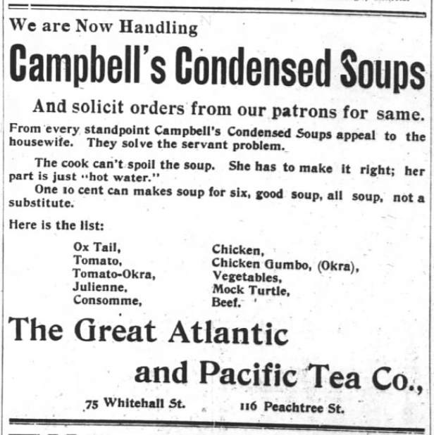 Atlanta Constitution (Atlanta, GA) Advertisement Now Handling Campbell's Condensed Soups - 1899-09-03