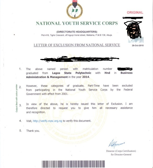 Nysc exemption and exclusion with their sample certificatesletter sample pictures of nysc exclusion letter altavistaventures
