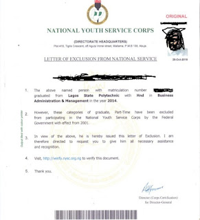 sample pictures of nysc exclusion letter