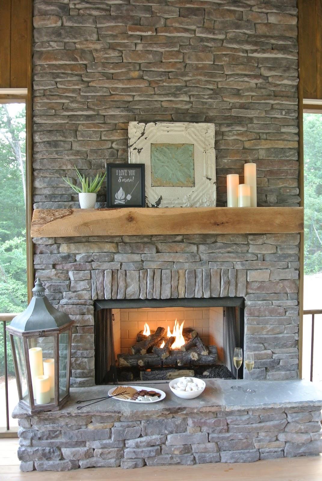 S'mores basket by fireplace mantel via blog.farmtofete.com/
