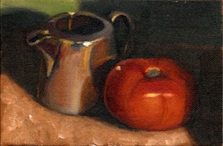 Oil painting of a silver-plated jug next to a red tomato.