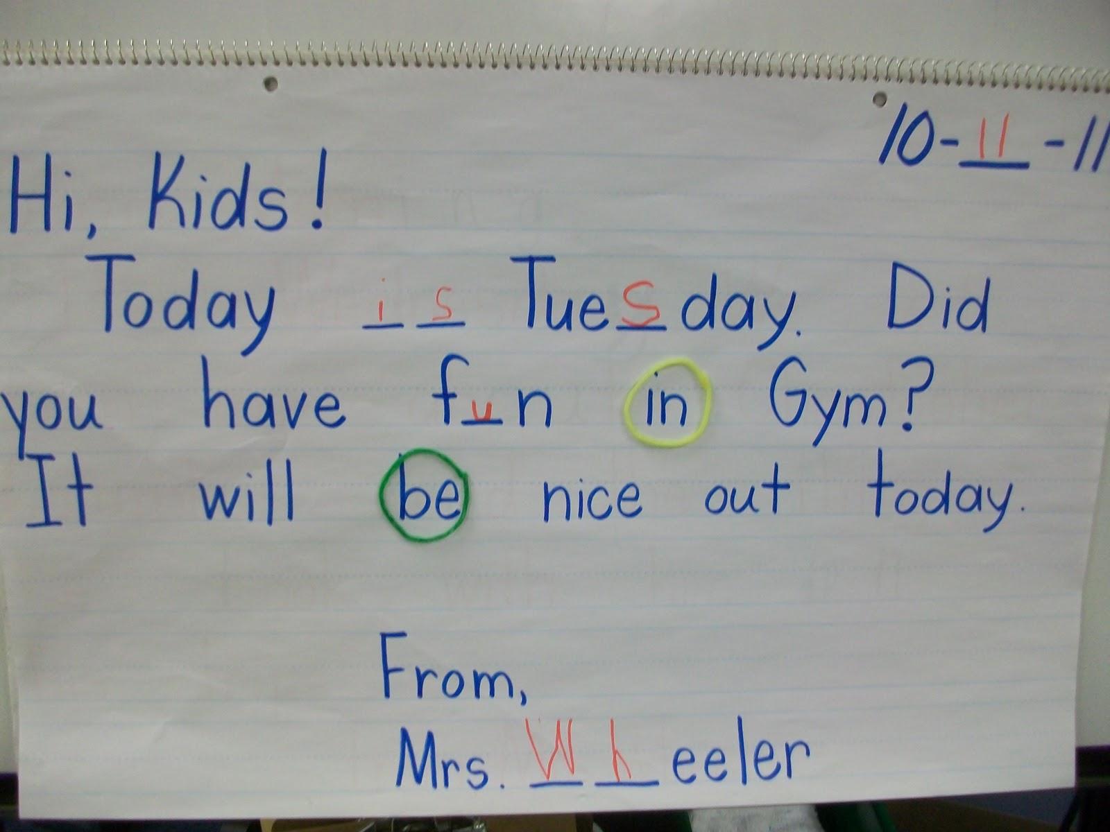 Mrs Wheeler S First Grade Tidbits Morning Message