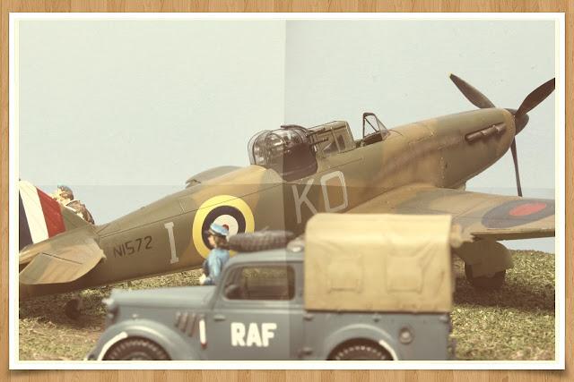 """Réalisation du diorama """"R.A.F WWII"""" mettant en scène un Boulton Paul Défiant D'Airfix."""