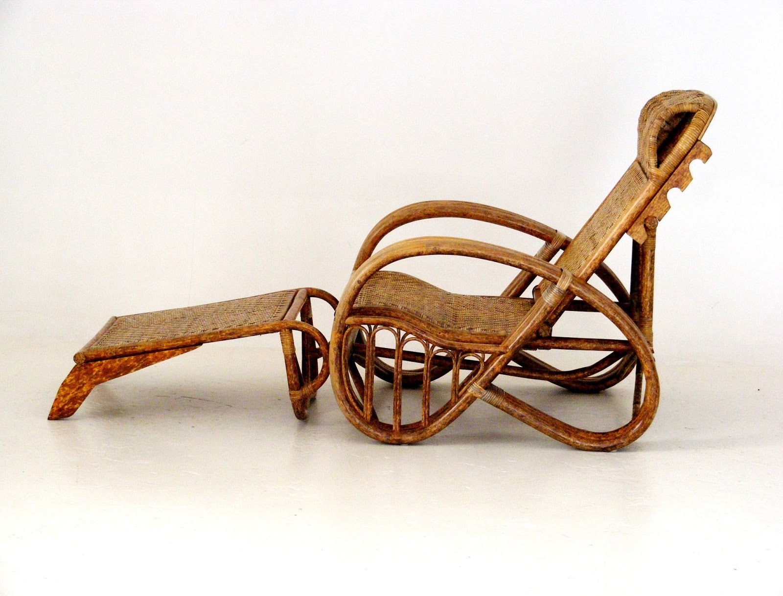 VAMP FURNITURE: An Art Deco bamboo and cane reclining chair