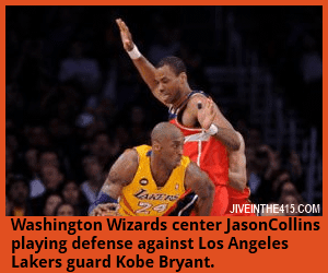 Gay NBA player Jason Collins defends against Los Angeles Laker guard Kobe Bryant.