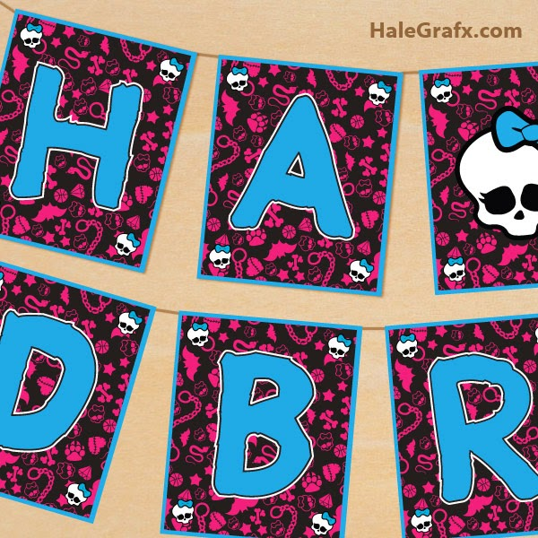 Monster High Free Printable Banner.
