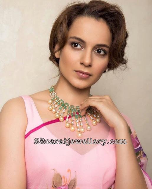 Kangana Ranaut in Emerald Diamond Choker