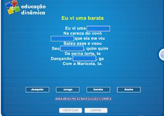 http://www.jogosdaescola.com.br/play/index.php/escrita/639-parlendas-e-cantigas