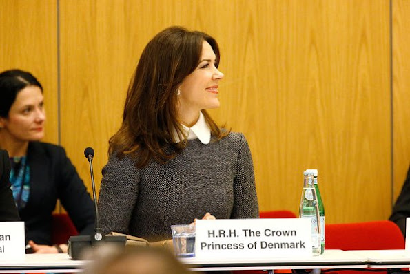 Crown princess mary wore Miu Miu Dress, Gianvito Rossi Pumps, Naledi Clutch