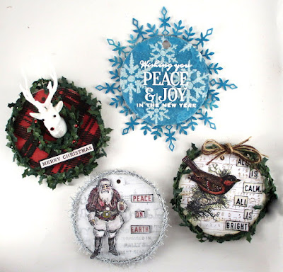 Stampers Anonymous Festive Overlay Tim Holtz Layering Stencil Plaid Snowflakes Trophy Antlers For The Funkie Junkie Boutique
