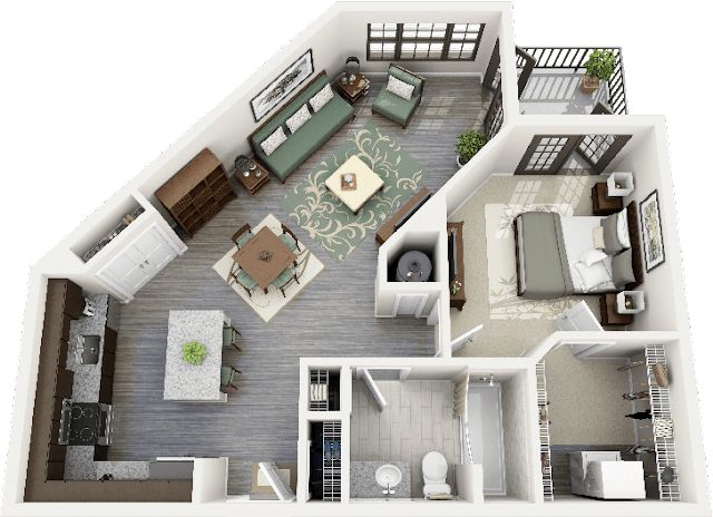 3d floor plans for houses with laundary area apart from bathroom