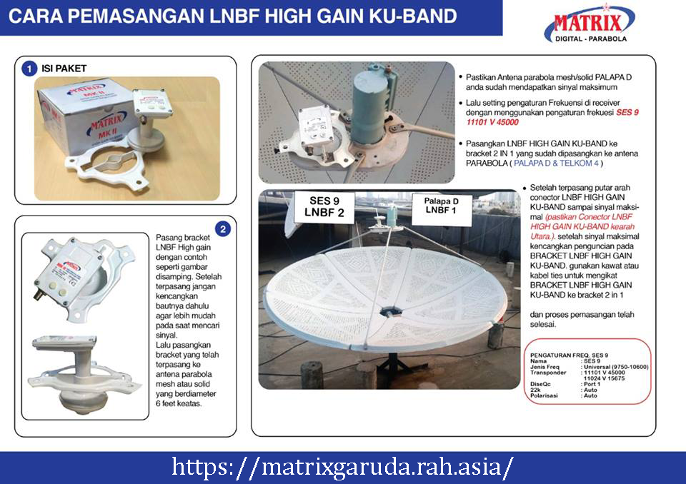 Cara Pemasangan LNBF High Gain KU Band