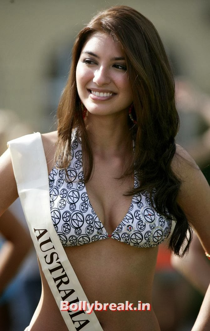 Miss Australia Sabrina Houssami poses during a Miss Beach competition in Sopot, northern Poland, September 7, 2006. More than 100 candidates took part in the 56th Miss World at the end of September in Poland., Indian Women who have won Beauty Peagents across the World