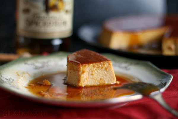 Spiced Pumpkin Rum Flan #CaptainsTable by www.girlichef.com
