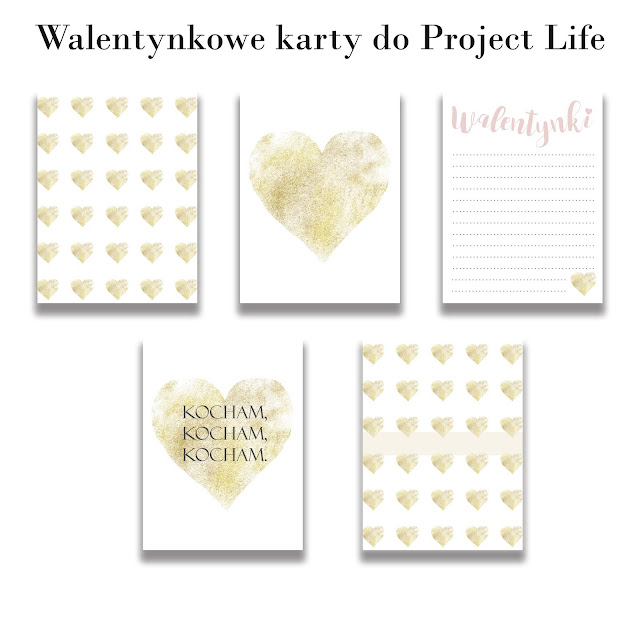 Walentynkowe karty do Project Life