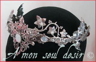 couronne elfique féerique blanche opale A Mon Seul Désir www.amonseuldesir.net elven fairy crown white opal