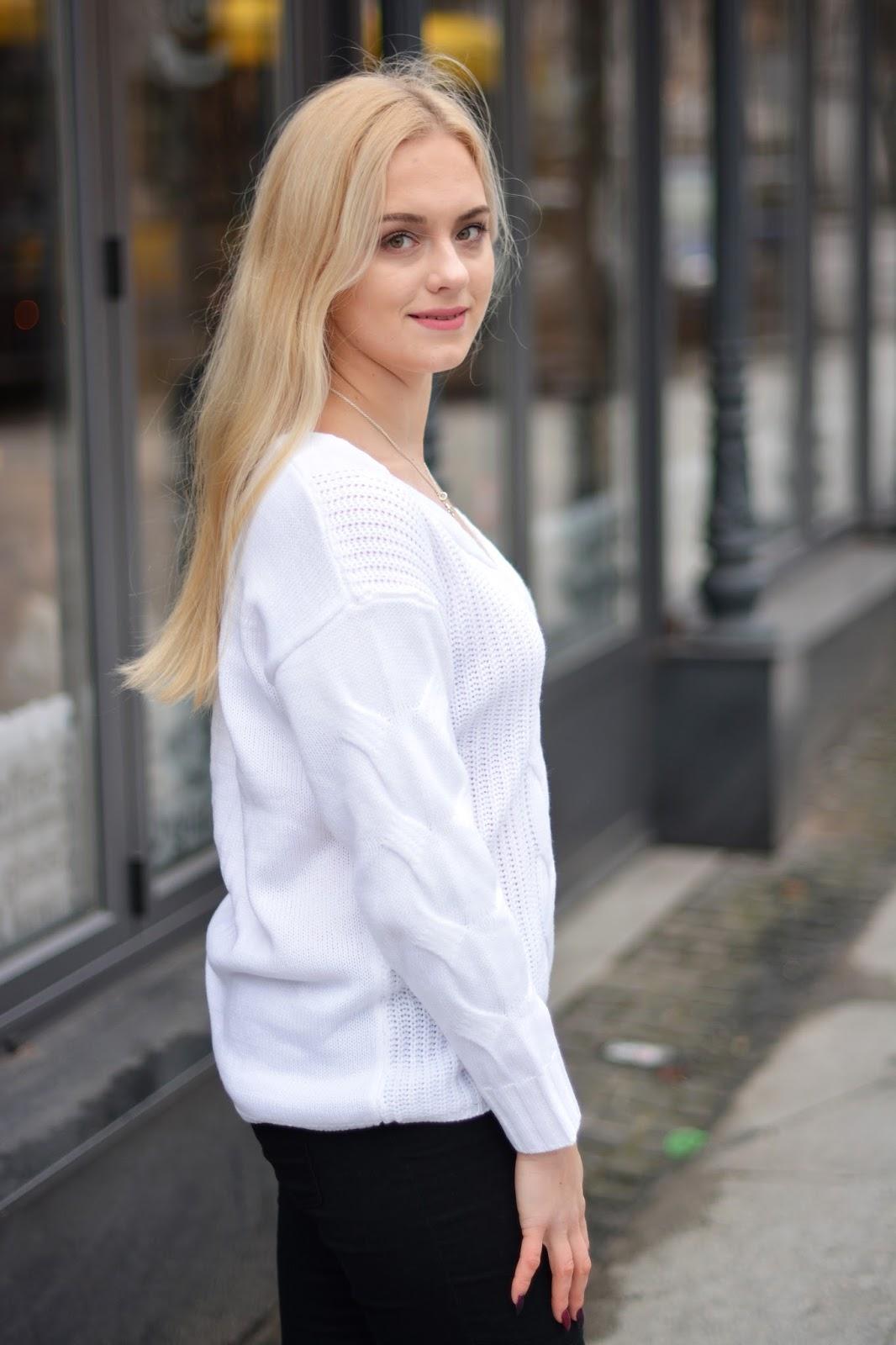 biały sweter stylizacja 2017