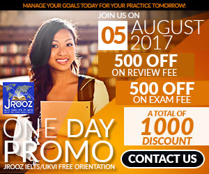 JROOZ FREE IELTS/IELTS UKVI Open House Promo  Join us on August 5, 2017  Know the basics of IELTS and IELTS UKVI  GET 1000 OFF  Manage Your Goals Today For Your Practice Tomorrow!