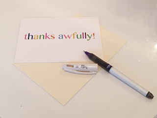 A thank you card by Luck and Judgement and a purple Pental pen
