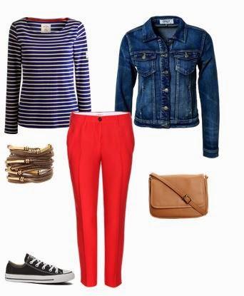 Calças vermelhas, camisola riscas, blusão ganga, ténis pretos e mala a tiracolo camel