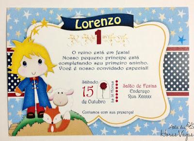 convite artesanal aniversário infantil personalizado festa 1 ano aninho livro o pequeno príncipe envelope papel vegetal delicado sofisticado dourado azul e vermelho menino scrap scrapbook