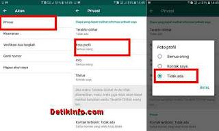 cara setting sembunyikan foto profil di Whatsapp