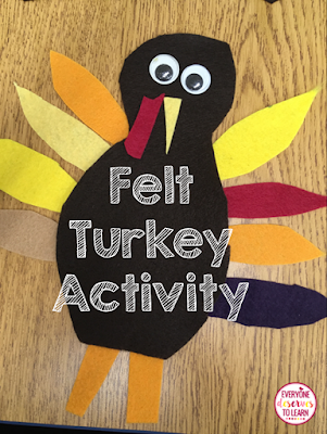 felt turkey speaking and writing activity